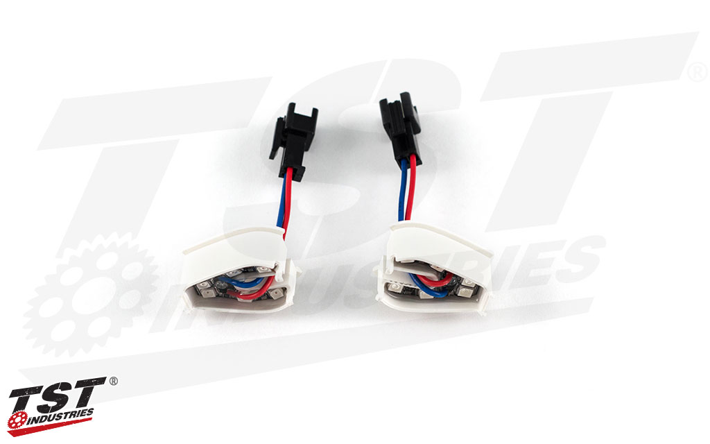 Bright LEDs provide a bright glow to the base of the MECH-GTR LED Turn Signals.