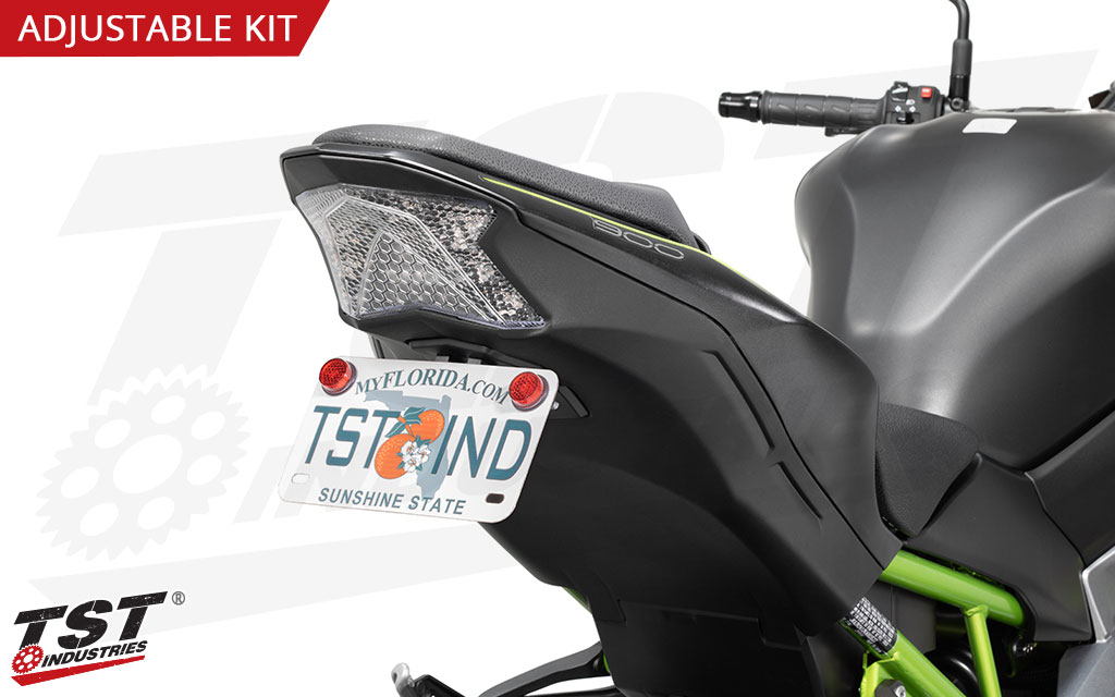 The Elite-1 Adjustable Fender Eliminator enables you to adjust the license plate angle on your Z900.
