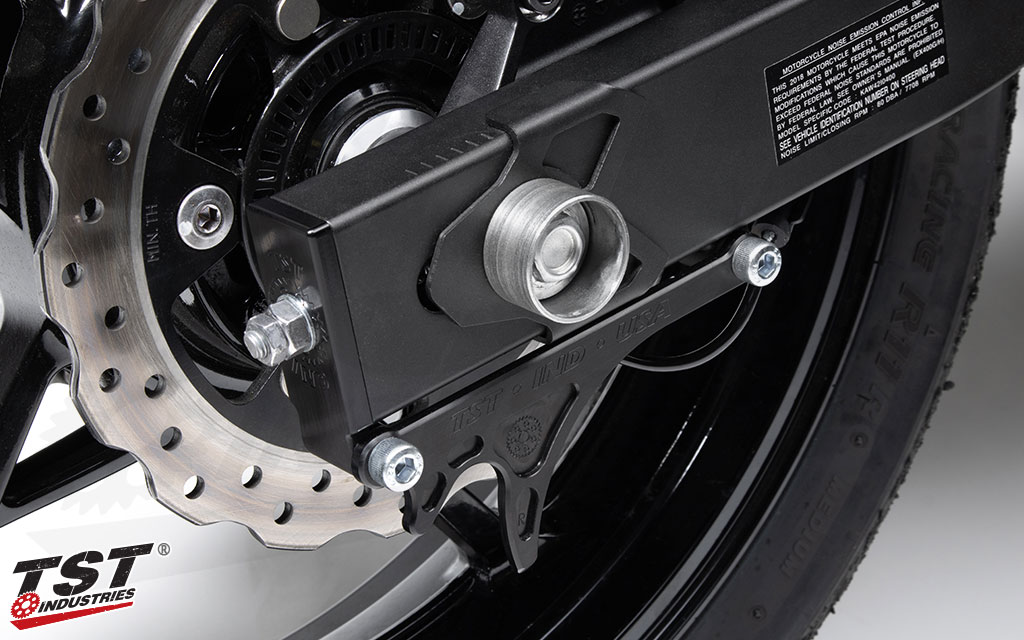 TST Captive Chain Adjusters and GP Lifters for the 2018+ Kawasaki Ninja 400.