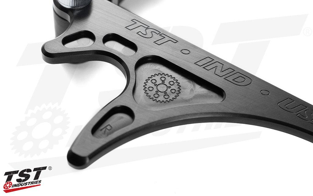 Engraved TST branding.