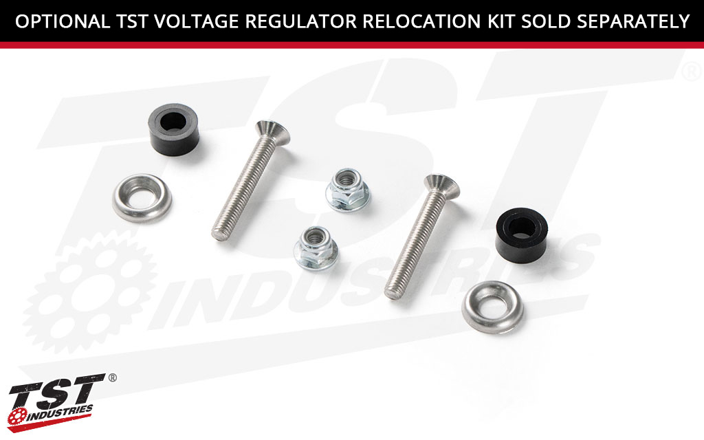 TST Frame Slider brackets are designed to work with our TST Voltage Regulator Relocation Kit. (Sold separately)