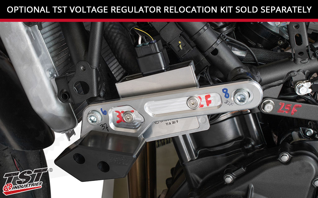 Add more protection by relocation your Ninja 400 voltage regulator with our optional kit. (Sold separately)