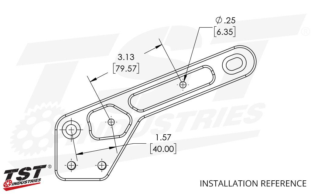 Installation reference on the TST Ninja 400 Frame Slider mounting bracket.
