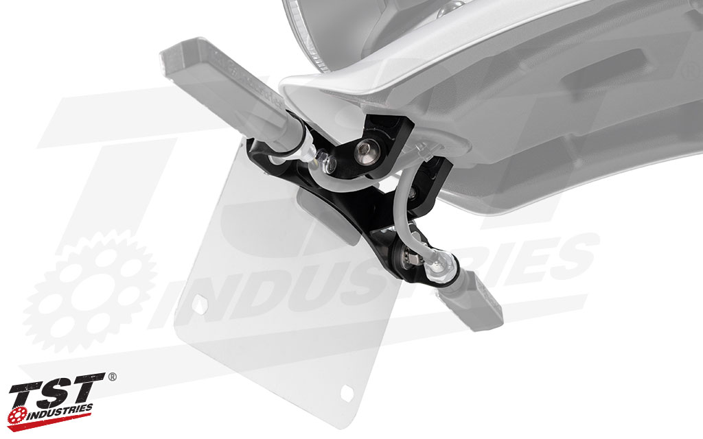 What's included in the TST Adjustable Elite-1 Fender Eliminator shown installed on the XSR700.