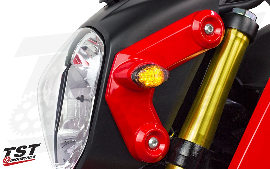 TST Industries LED Front Flushmount Turn Signals on the 2013-2016 Honda Grom.