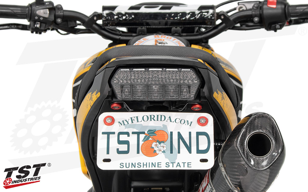 TST's smoked LED Integrated Tail Light shown on the 2014-2016 Honda Grom.