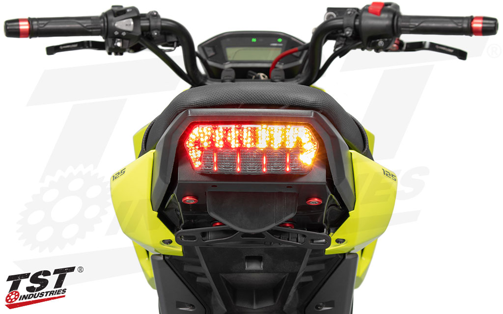 Built-in LED turn signals provide a sleek all-in-one unit.