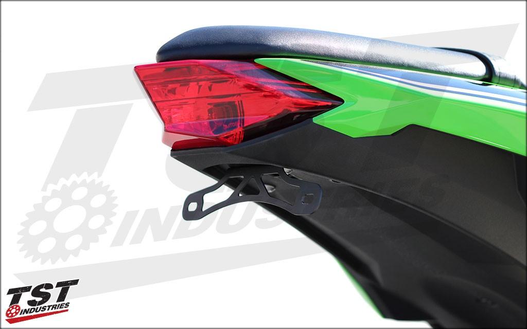 TST Industries Fender Eliminator on the 2013+ Kawasaki Ninja 300R.