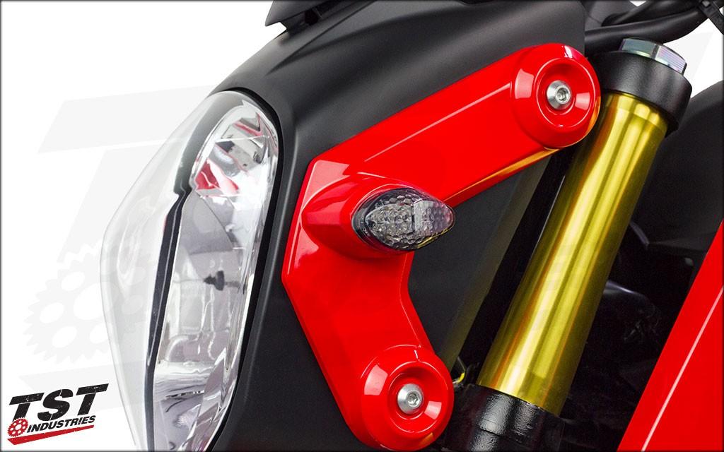 Honda Grom 2013-2018 Smoked LED Front Flushmount Turn Signals.