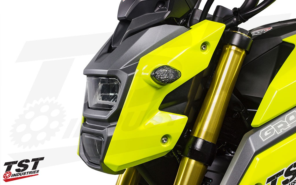 TST Industries LED Front Flushmount Turn Signals for the Honda Grom.