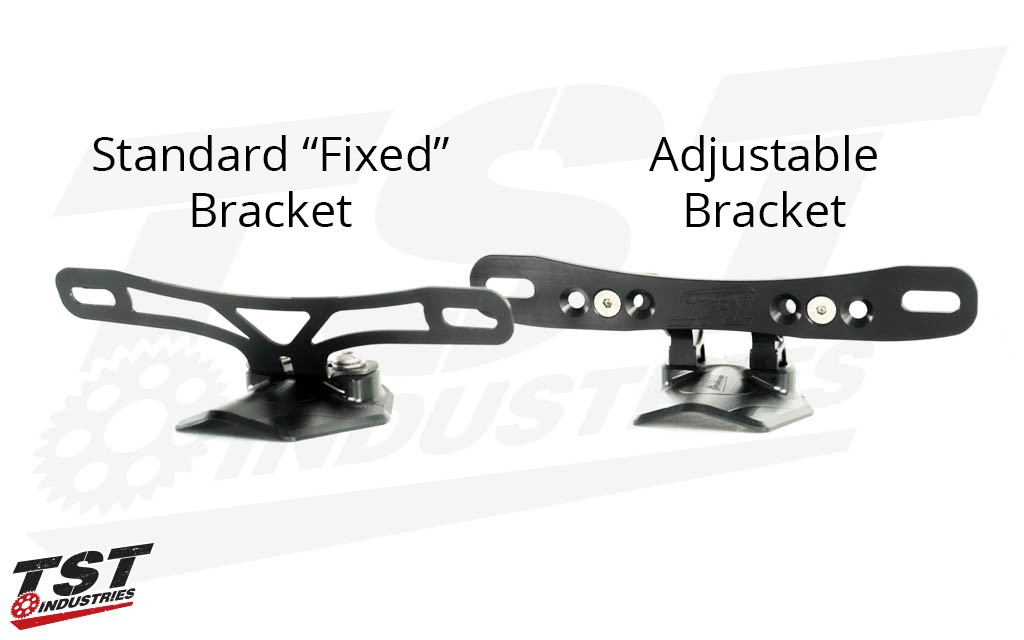 "Standard ""Fixed"" Bracket vs. Adjustable Bracket."
