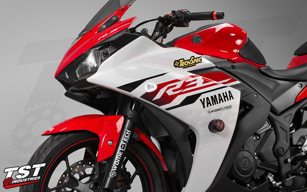 Clean up your Yamaha R3 with the sleek and bright Halo GTR Front LED Turn Signals.