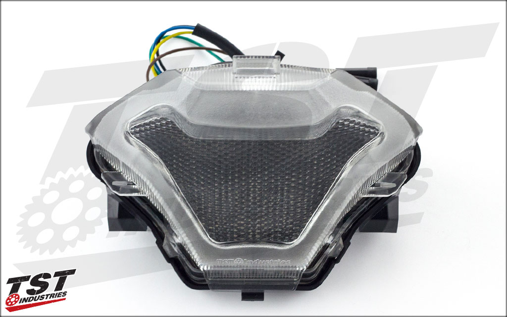 TST LED Integrated Tail Light for the Yamaha YZF-R3, shown in clear.
