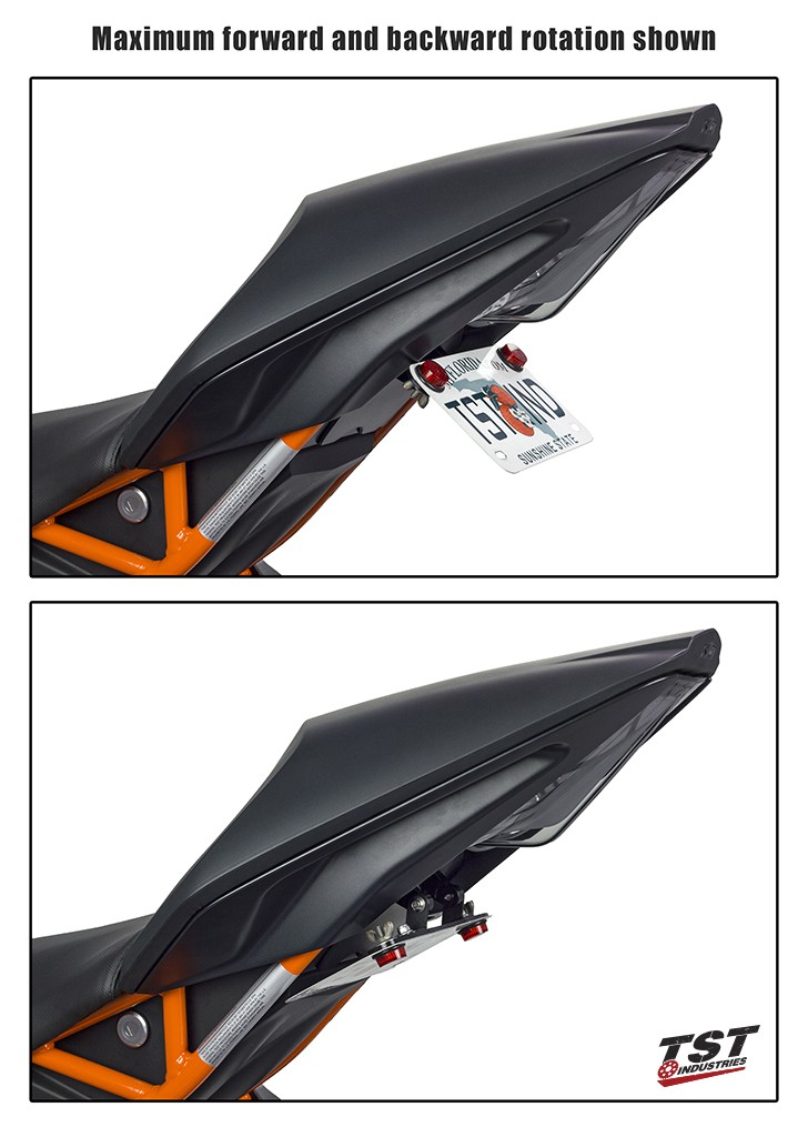 Maximum license plate angle adjustment for this kit on a 2015 RC390