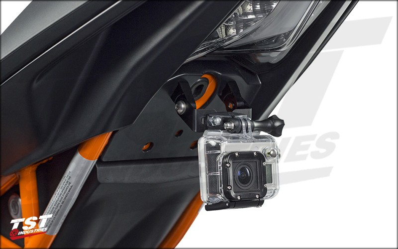 Adjustable GoPro Mount installed on a 2015 KTM RC390