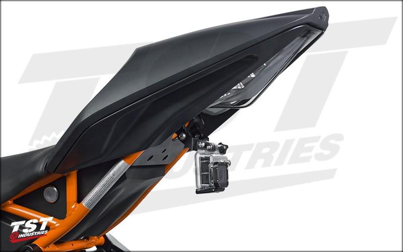 Adjustable GoPro Mount installed on a 2015 KTM RC390