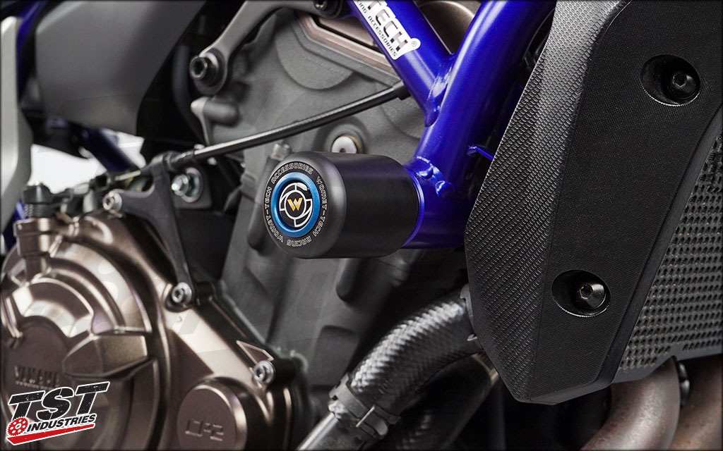 Pack Includes Womet-Tech Frame Slider for Yamaha XSR700. (Shown with blue color option and installed on FZ-07)