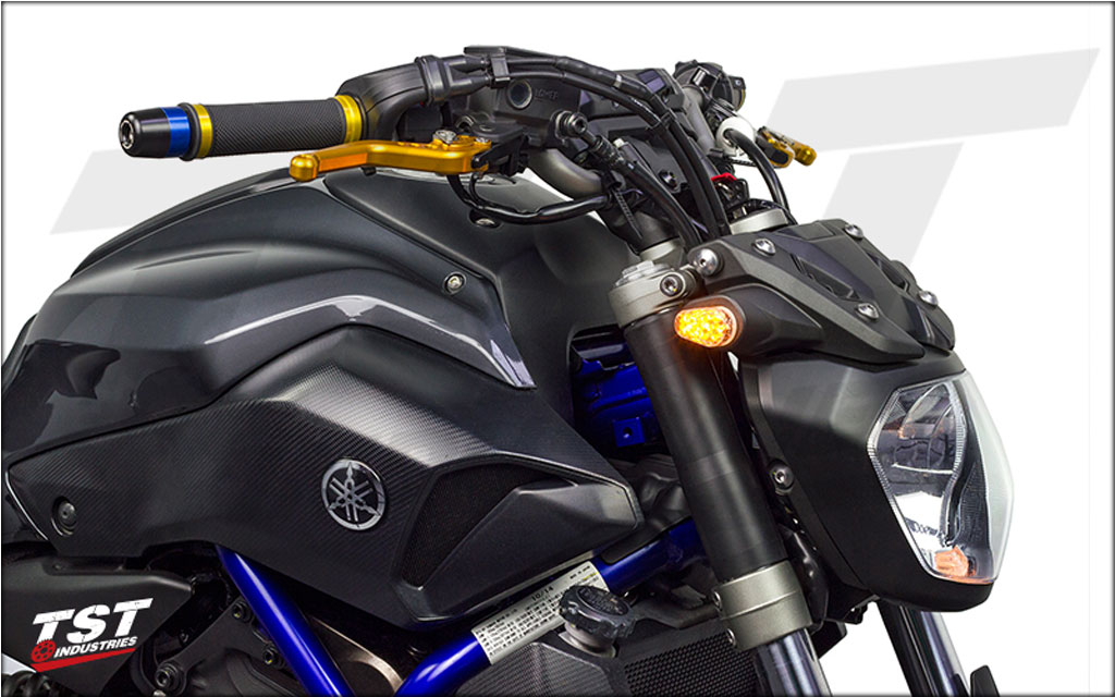 Pack Includes Womet-Tech Bar End Slider for Yamaha XSR700. (Shown with blue color option and installed on FZ-07)