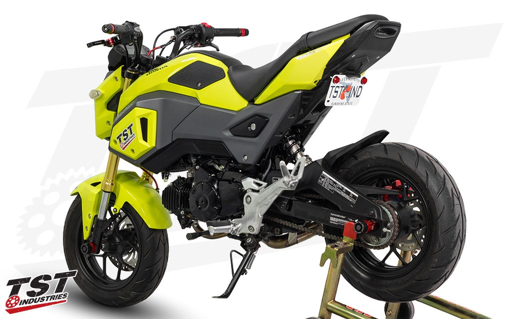 Ditch the bulky Grom stock fender for the TST Industries LED integrated tail light and undertail kit. (Low mount shown)