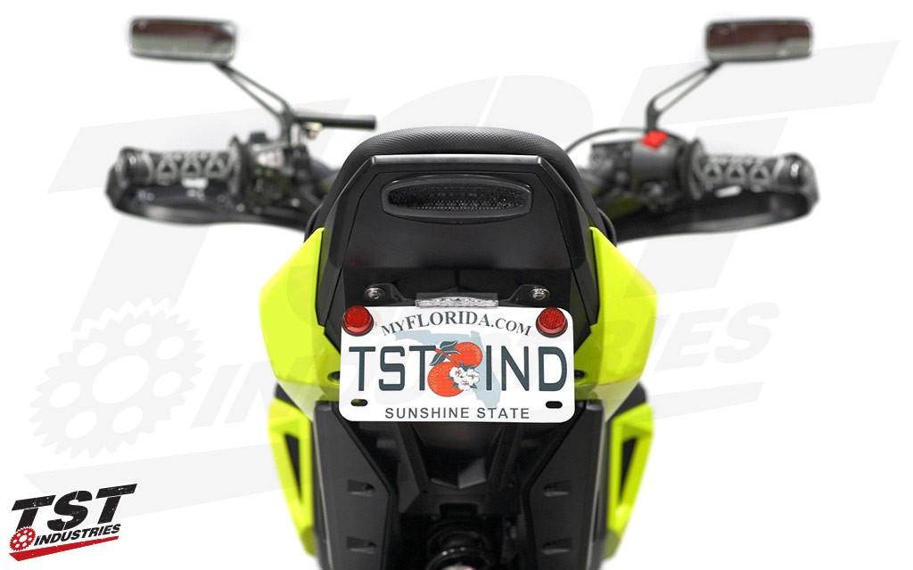 "Fixed ""Stock"" license plate bracket on the 2017+ Honda Grom."