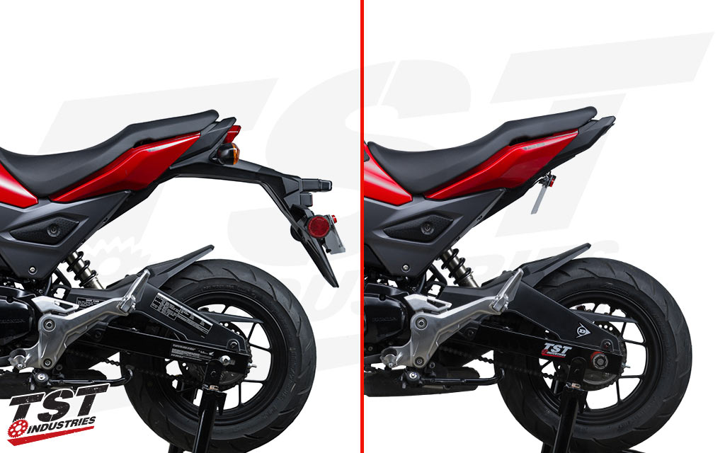 Honda Grom stock fender compared to the TST Undertail, Fender Eliminator, and LED Integrated Tail Light (fixed low mount shown).