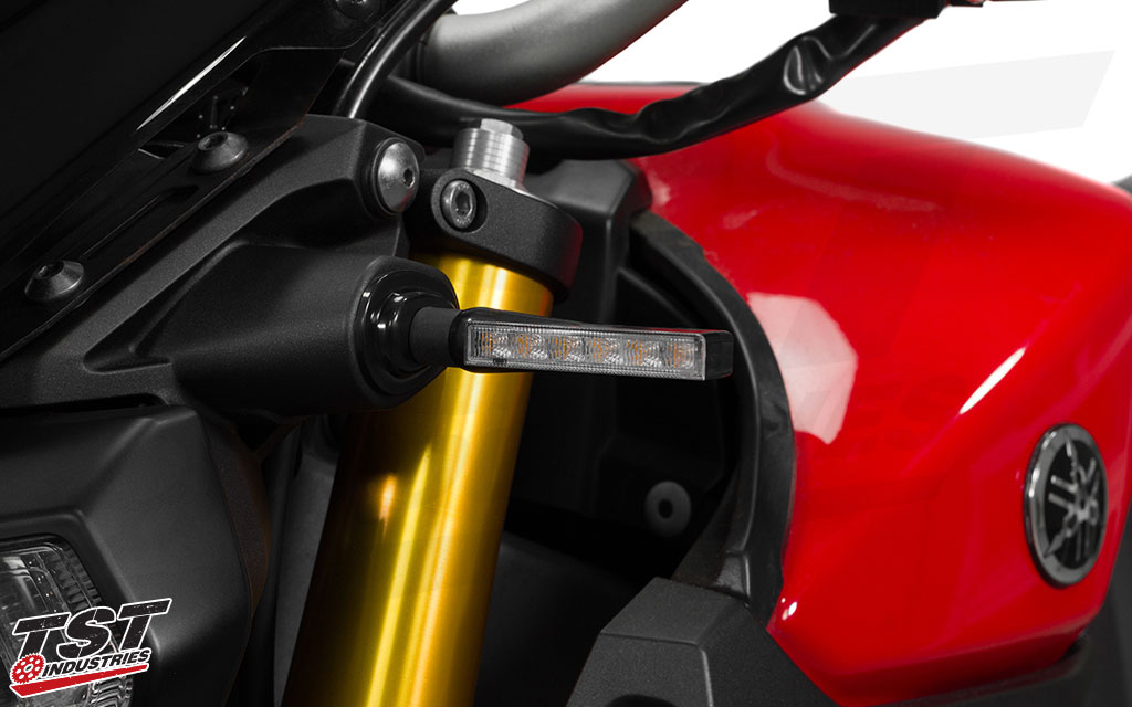 TST BL6 LED Pod Turn Signals installed on the Yamaha FZ-09 / MT-09.