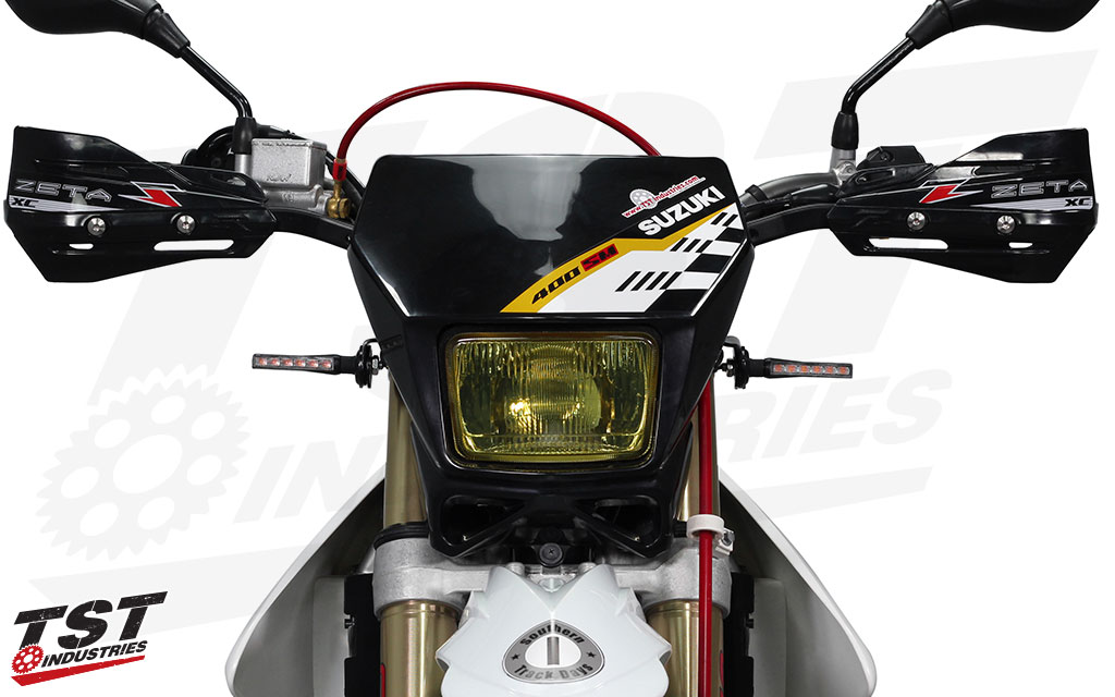TST BL6 LED Pod Turn Signals installed on the Suzuki DRZ400S.