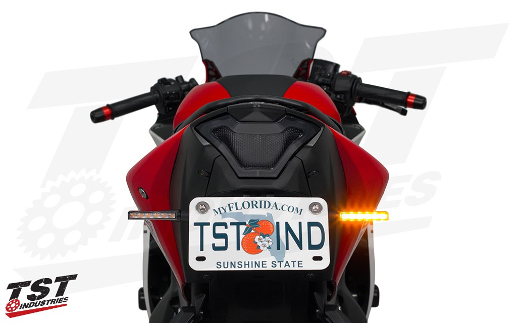 Upgrade the rear of your motorcycle with super bright and low profile BL6 LED Front Turn Signals from TST Industries