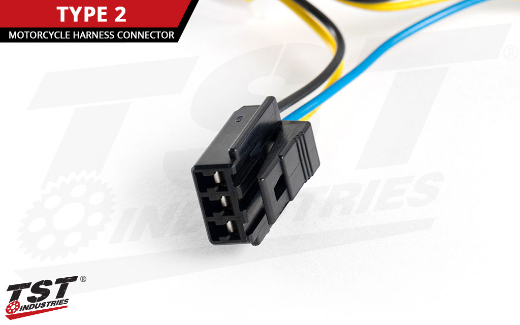 Close up of the TYPE 2 harness converter motorcycle connection plug.