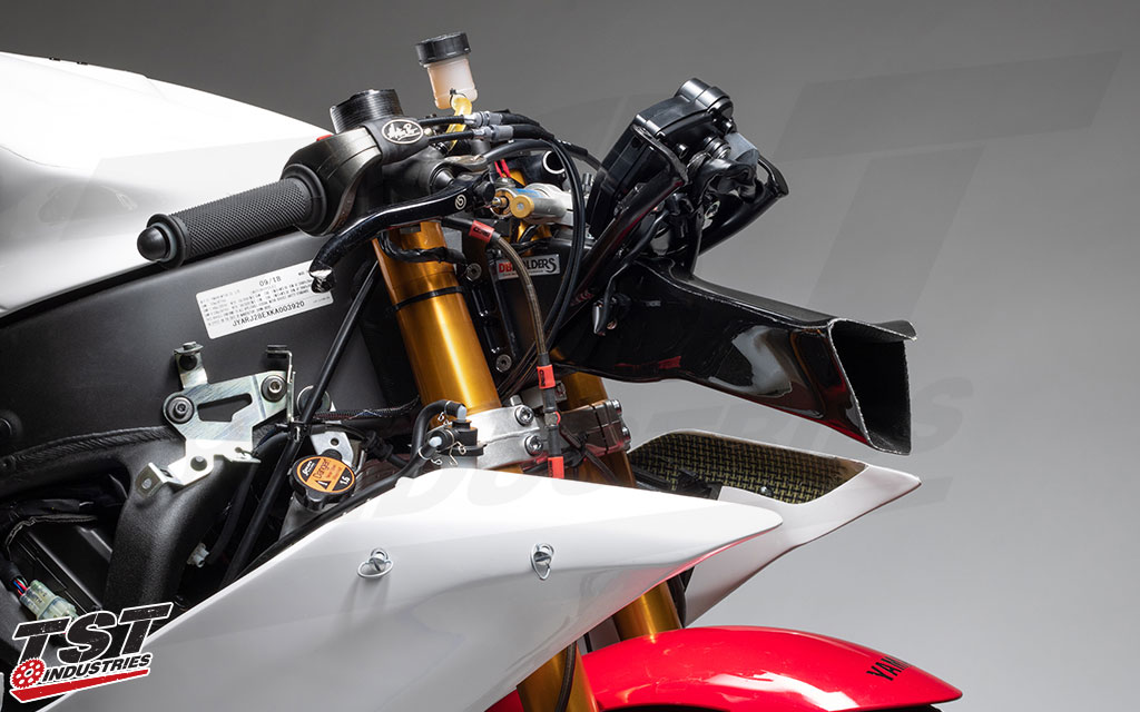 DBHolders Upper Fairing Stay Bracket used on the TST R6 Supersport race bike.