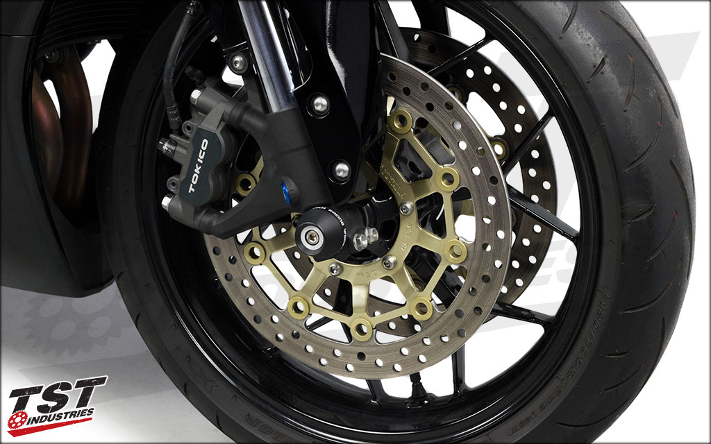 Provide essential crash protection to your forks, front wheel, and braking assembly. -Black shown.