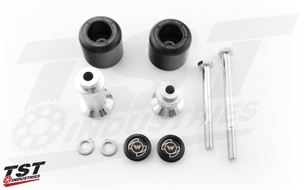 What's included in the Womet-Tech Frame Sliders for the Yamaha R6 2006-2016.