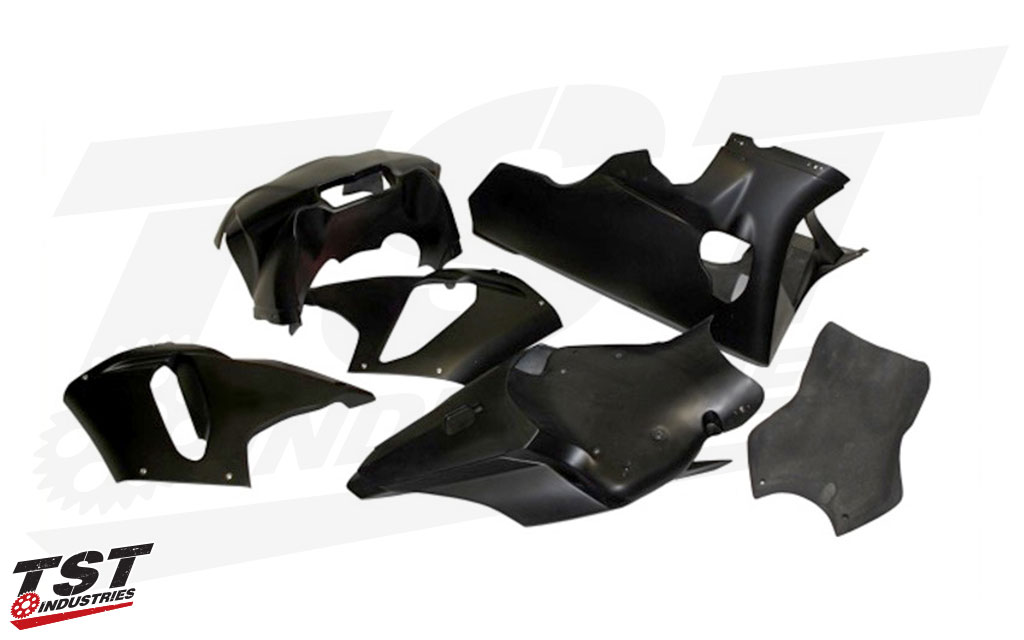 Lightweight and durable track bike fairings for the Yamaha R1.