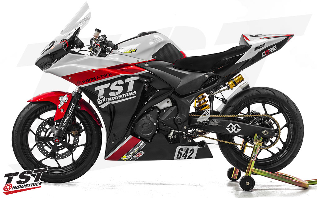 The TST Race Team's YZF-R3 is decked out in this CRC Fairing Kit with custom paint work.