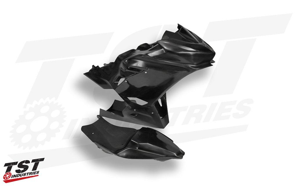 Durable fiber / polymer compound construction features a paint ready black gel coat.