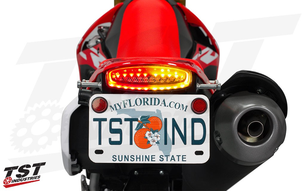 Built in LED turn signals provide a sleek and low-profile solution to ditching the large stock signals.