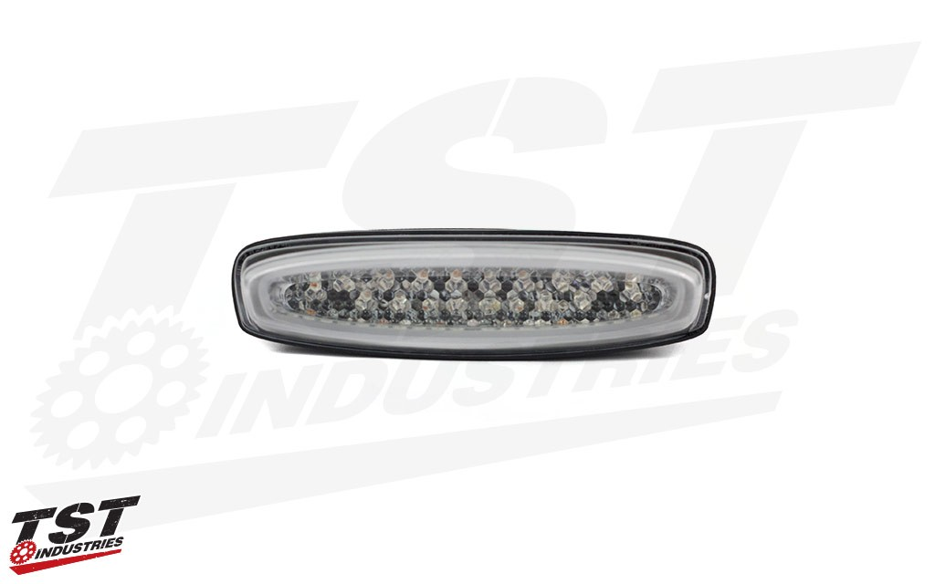 LED integrated tail light in clear.