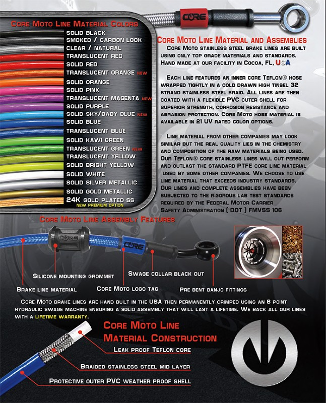Core Moto Brake Line Material Construction and Assembly