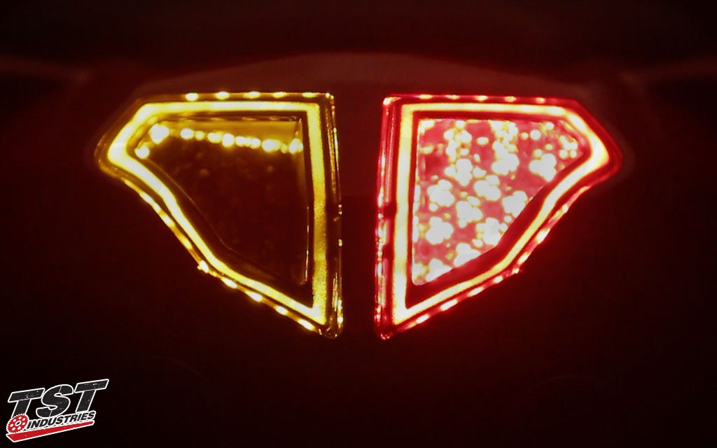 Signal and brake activated on the Ducati 848 / 1098 / 1198 LED Integrated and Sequential Tail Light.