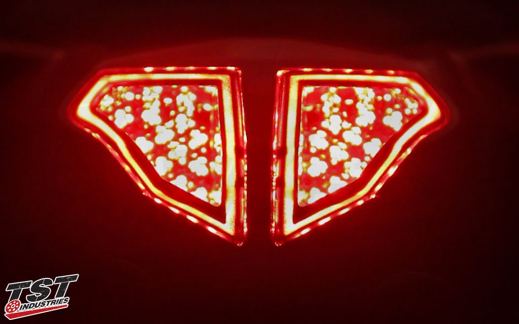 Brake light activated on the Ducati 848 / 1098 / 1198 LED Integrated and Sequential Tail Light.