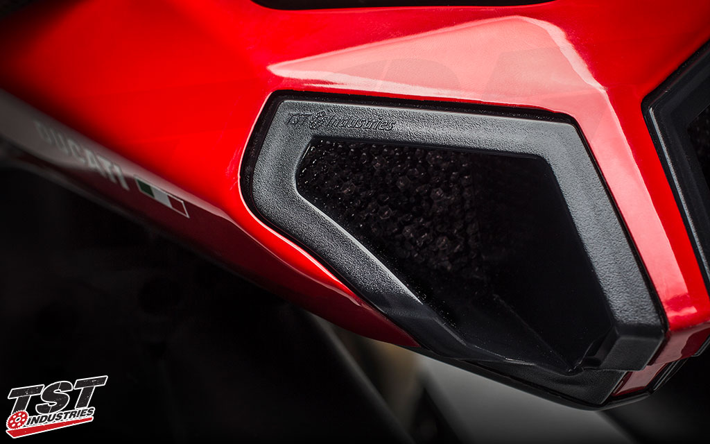 Each LED Integrated & Sequential Tail Light features a small TST Industries logo.