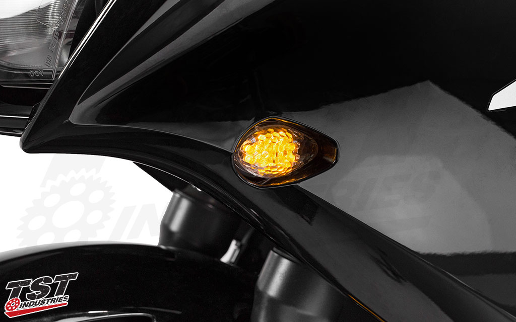 Super bright LED's ensure a bright light output. Clear flushmount shown on the Honda CBR300R.