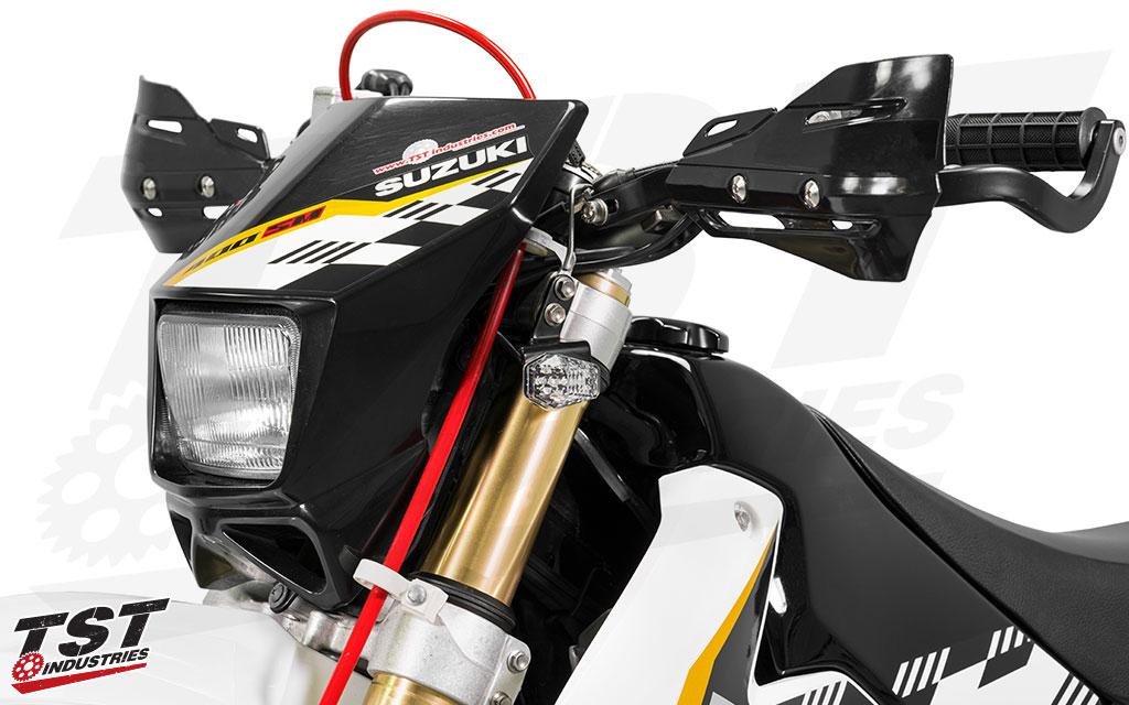 TST LED Front Flushmounts on the Suzuki DRZ400S/M.
