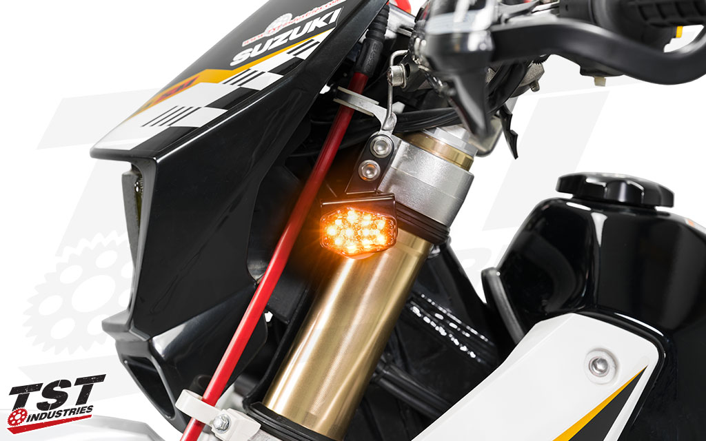 tst led front flushmounts for the suzuki drz  clear lens shown