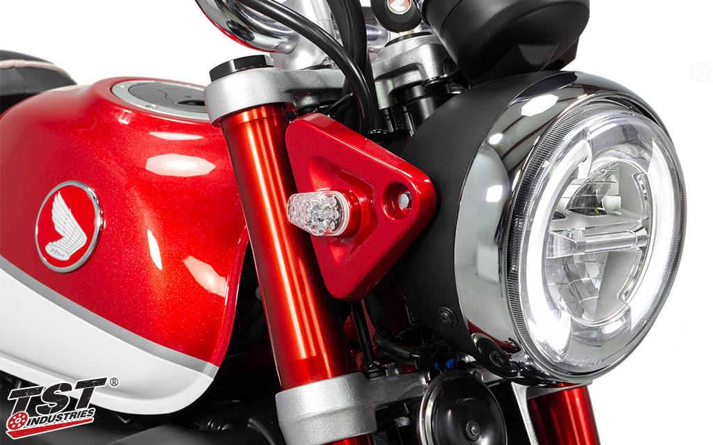 TST LED Front Flushmount Turn Signals installed on the 2019 Honda Monkey.