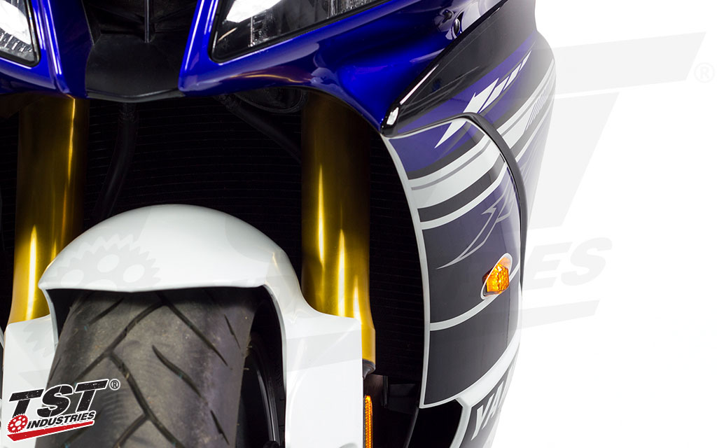 Flushmount design enables you to ditch the bulky stock turn signals on your Yamaha.