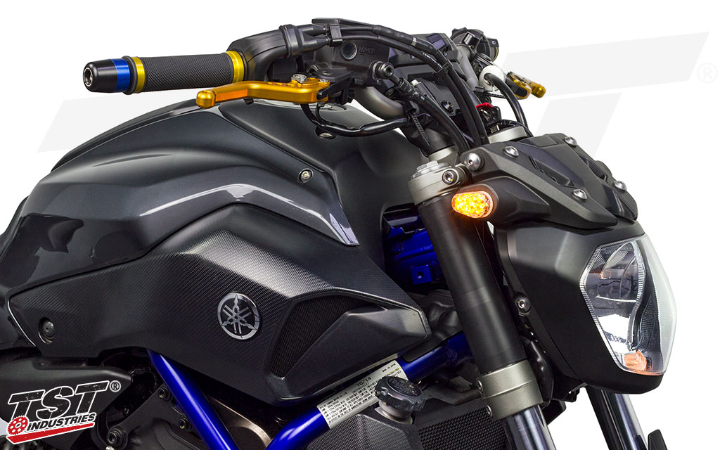 Upgrade your Yamaha FZ-07 / MT-07 with bright LED Front Flushmount Turn Signals from TST Industries.