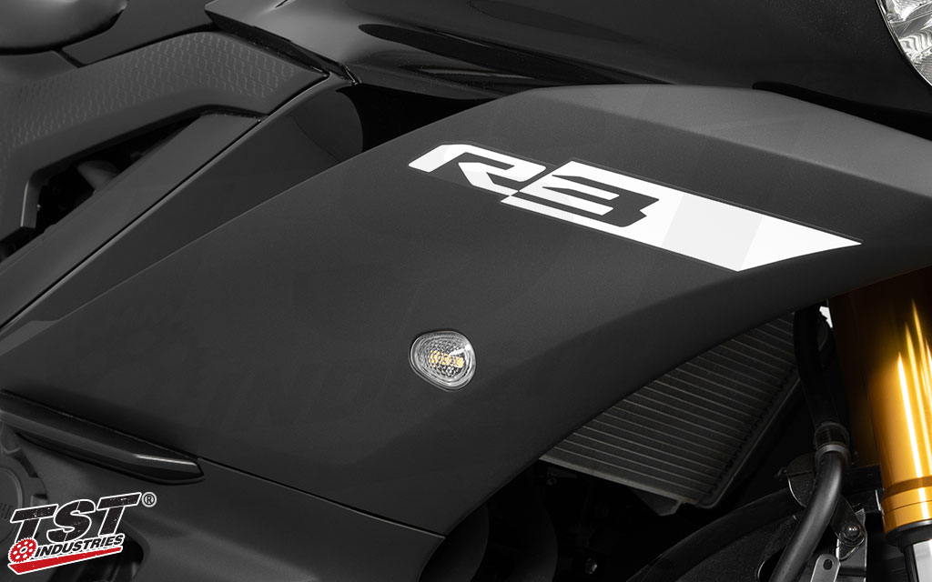Upgrade your 2015+ Yamaha R3 with the GTR Front Flushmount Turn Signals.