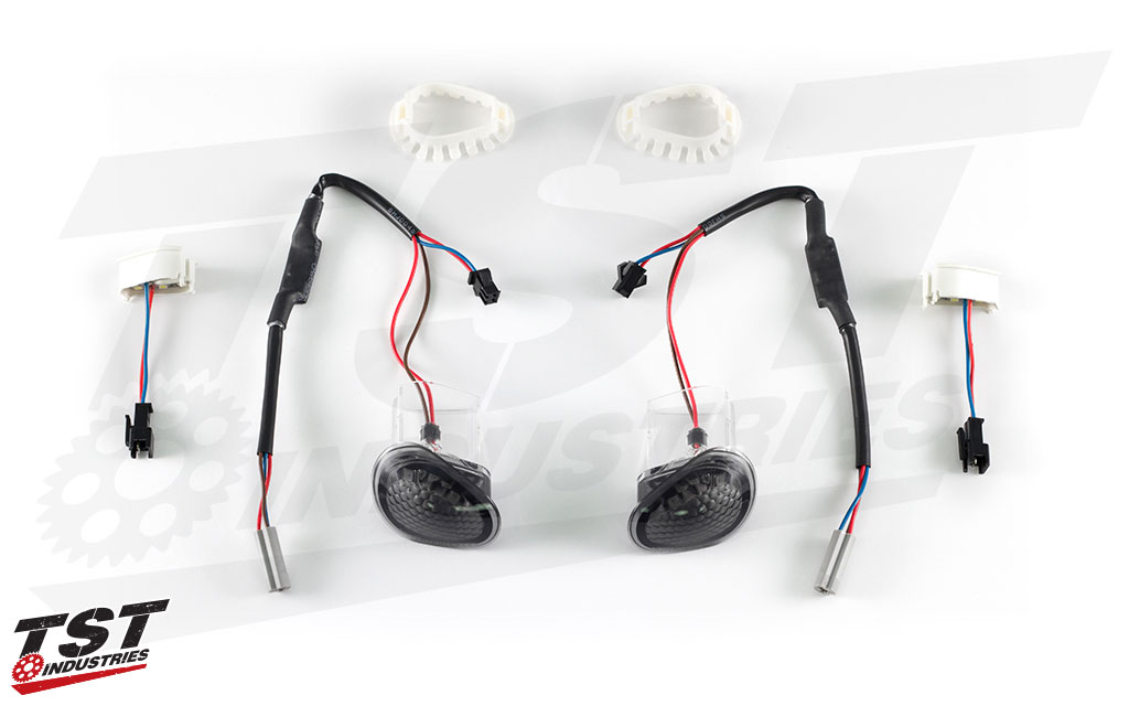 What's included in the TST Industries Halo-GTR LED Flushmount Signals (smoke version shown).