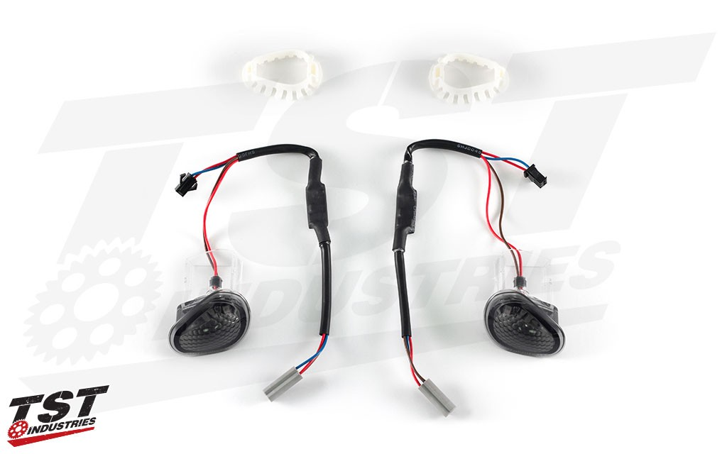 What's included in the TST Industries GTR LED Flushmount Signals (smoked version shown).